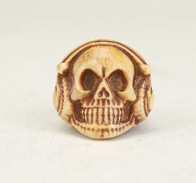 Special Chinese Cattle Bone Hand Carved Skull Ring Collection Jewelry