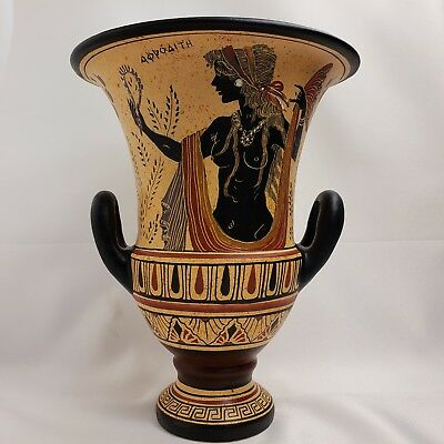 Ancient Greek Goddess Aphrodite Venus & God Zeus Rare Art Pottery Vase Krater