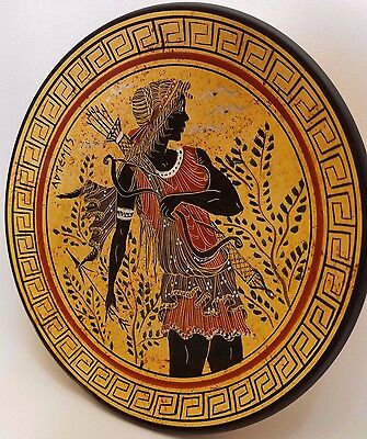 Artemis Greek Goddess of The Hunt Rare Ancient Greek Art Pottery Plate
