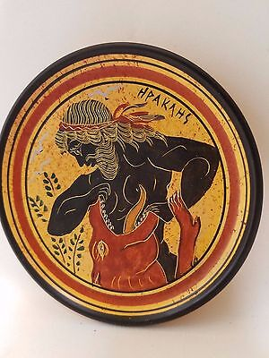 Greek Hero Heracles Rare Hellenic Ancient Greek Art Pottery Plate