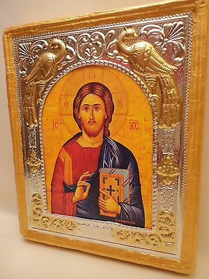 Jesus Christ Rare Byzantine Greek Orthodox Icon Embossed Metal Art on Wood