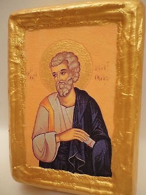 Saint Matthias Apostle Rare Byzantine Greek Orthodox Religious Icon Wood Block