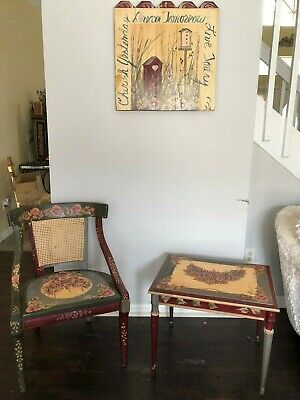 Antique Set Of 3,hand Painted Wood Furniture~Chair-Table-Wall Decor