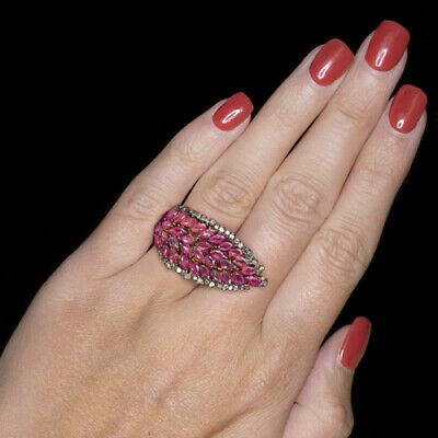 NATURAL RUBY DIAMOND 6ct COCKTAIL STATEMENT VINTAGE DOUBLE TWO FINGER RING BIG