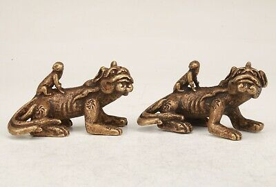 2 Rare Chinese Bronze Handmade Carving Dragon Statue Figurine Old Collection