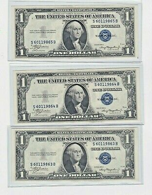 1935A $1  silver certificate consecutive sequential lot of 3