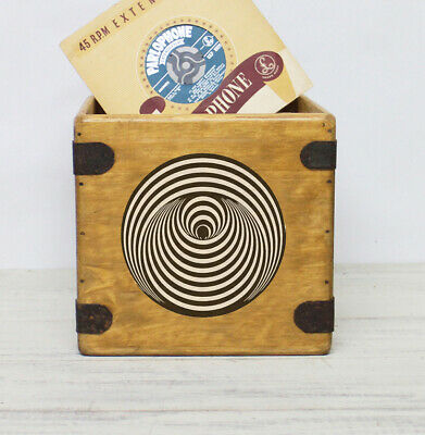 "Swirl Record Box 7"" Single Boxes Wooden Vinyl Crate Records Classic Rock Vertigo"