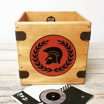 "Trojan Record Box 7"" Single Boxes Wooden Vinyl Crate Records Ska 2 tone Skin"