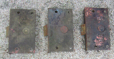 """3 ea Antique Small 1-1/2""""x2-3/4"""" Solid Brass Mortise Like Door Latches, Working"""