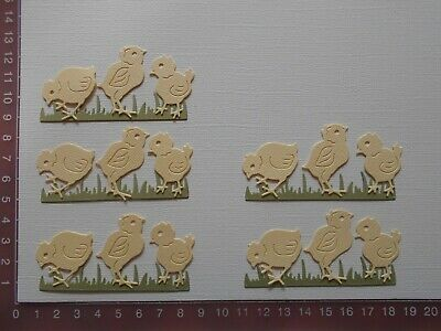 Die cuts - Chickens Grass Easter Birthday Embellishments 5 Sets