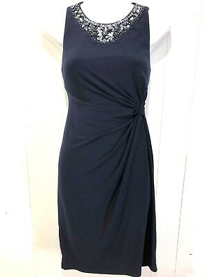 5a3a51af7 DJ-JAZ Women s Ladies Navy Blue Beaded Jersey Knit Cocktail Party Formal  Dress 4