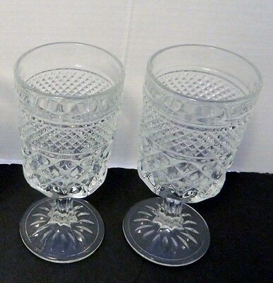 """Wexford Anchor Hocking Stemmed Goblet Water Tumbler 8 ounce Crystal 6 1/2"""" Two"""