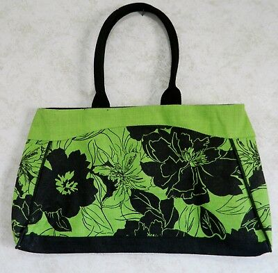 56213e9db Tote Shoulder Sustainable Bag Green and Black with Flowers Black Handles  Burlap
