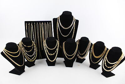 30 x Vintage Gold Tone NECKLACES inc. Chunky, Cable Chain, Rope Chain