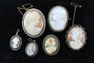 6 x Vintage & Antique CARVED SHELL CAMEO Jewellery inc. MOP, Brooches, Pendant