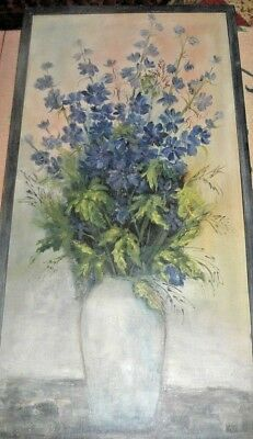 Blue Delphiniums, Still Life of Flowers in Vase, Original Oil Painting by Kite