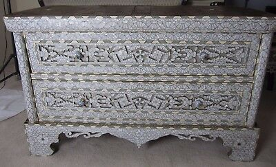 antique withe Mother Of Pearl Inlay Chest Of 2 Drawers