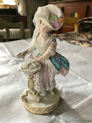 "Antique Meissen Lady Woman Playing Cards- porcelain lace dress Figurine  6.75"" H"