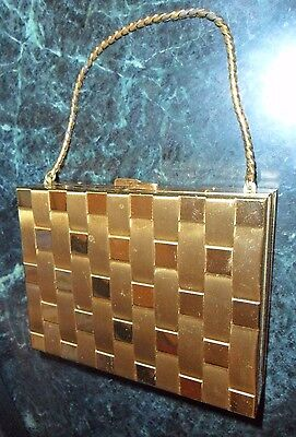 """Vintage 50""""s-60's Carryall Compact Purse with Mirror Powder Lipstick Gold Tone"""