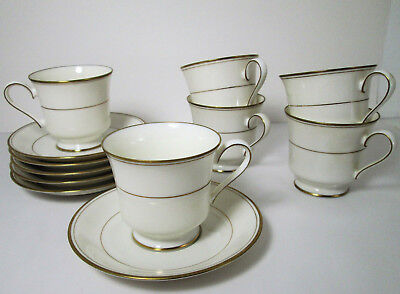 6 Gorham Elegance Gold Cups and Saucers Porcelain Footed Tea Coffee