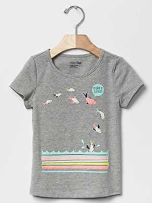 Nwt Baby Gap Girl's Grey Graphic Short-Sleeve Tee & True Black Crop Leggings
