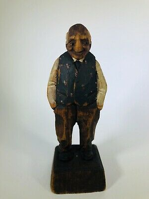"Vintage Hand Carved 5"" Wooden Statue Old Man With Hands In Pockets Folk Art"