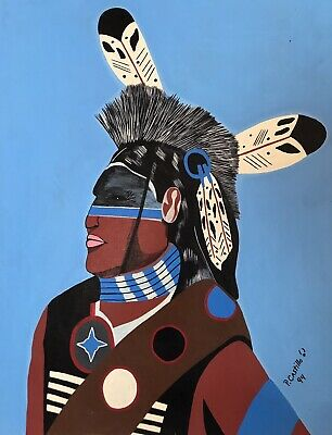 Native American Indian Sioux Warrior Original Oil Painting WESTERN ART