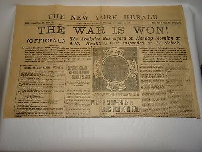 "Vintage Antique New York Herald Wwi ""The War Is Won"" Newspaper Dated 11/12/1918"