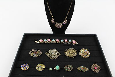 13 x Vintage PEKING GLASS & CZECH FILIGREE JEWELLERY inc. Necklaces, Brooches