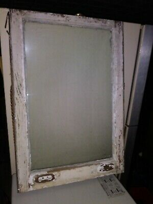 "19 5/8"" x 28 7/8"" Antique Wood sash frame Window Chippy Vintage Pane Wavy Glass"