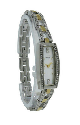 Bulova Crystals 98L214 Women's Tonneau Mother of Pearl Analog Watch