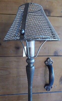 """LAMP Farmhouse Industrial Table Lamp NEW w/ Wire Mesh Shade 27""""H Tall Vintage"""