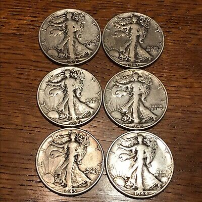 lot of 6 Walking Liberty silver half dollars 1941-1944 no reserve low start