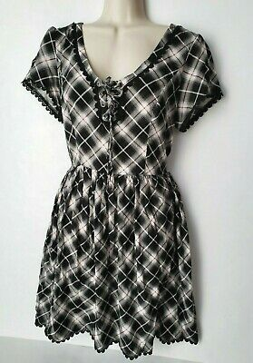 b993ebf265 Hot Topic Gray Black Red Plaid Flare Skater Dress Lace Up Goth Grunge Size  Large