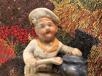 EXTREMELY RARE ANTIQUE CONTA & BOEHME 1800's GERMAN CHEF FIGURINES