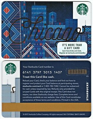 2017 Starbucks Coffee Chicago USA City Series Gift Card Limited Edition New
