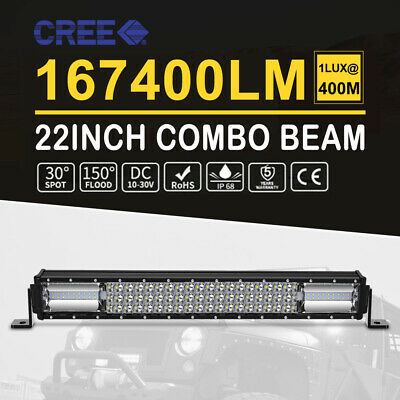 Philips 20inch LED Light Bar Tri-row Spot Flood Combo Beam Driving Offroad Truck