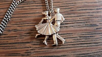 """Vintage SQUARE DANCING NECKLACE gold tone, 17"""" chain"""