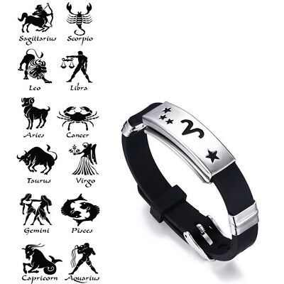 Men Horoscope Stainless Steel Silicone Wristband Bangle Clasp Cuff Bracelet USA