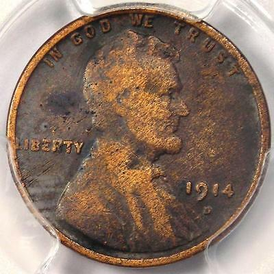 1914-D Lincoln Wheat Cent 1C - PCGS Fine Details - Rare Key Date Certified Penny