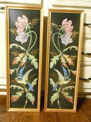 Vintage Set Of 2 Stunning Painting On Tin / Metal Birds / Parrots  And Flowers