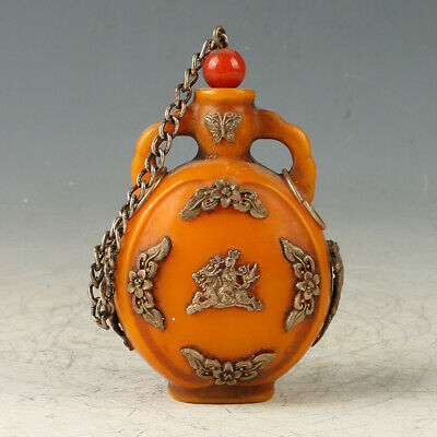 Exquisite Beeswax Handwork Carved Pattern Snuff Bottle GL589