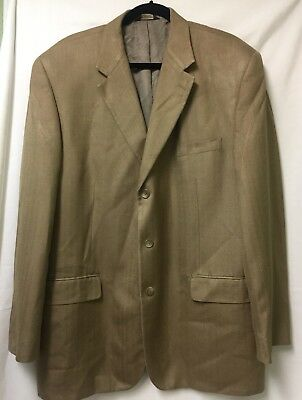 Chaps 100% Silk Mens Sz 46L Houndstooth Sport Coat 46 Long