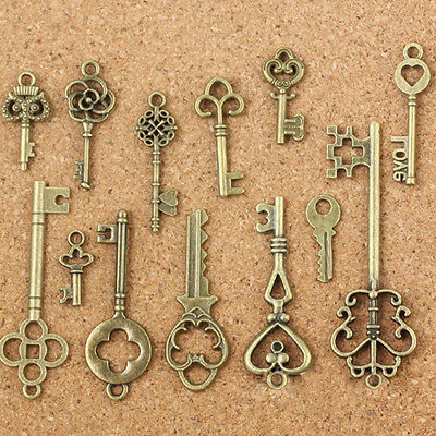 13Pcs Antique Old Look Bronze Keys Locks Vintage DIY Pendant Metal Charms Decora