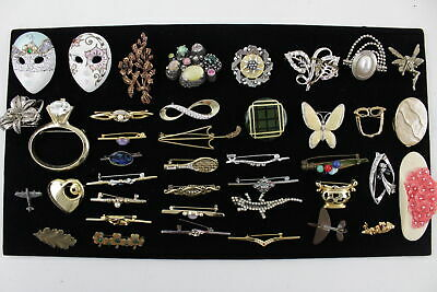 40 x Vintage & Retro MIXED BROOCHES inc. Statement, 80s, Floral, Rhinestone