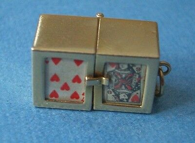 Vintage 14K Double Box Opens To (2) Tiny Removable Decks Of Cards Charm, Pendant