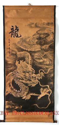 Old Collection Scroll Chinese Ink And Wash Painting / Dragon