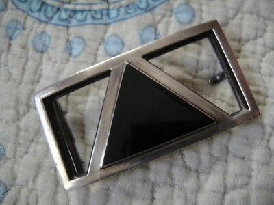 Vintage Navajo Sterling Silver Belt Buckle with Onyx Inlay by Merle House