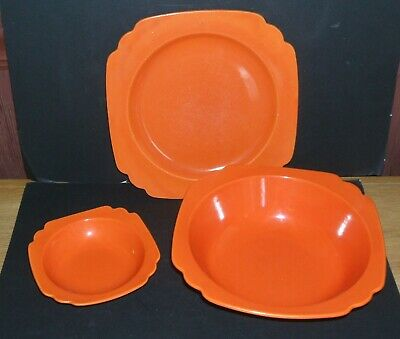 Homer Laughlin RIVIERA Orange Lot of 3 Pieces Plate, Veg. Bowl & Berry Bowl