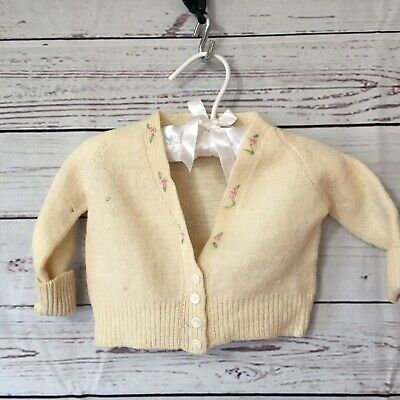 Vintage Baby Wool Sweater Yellow w/ hearts Made Scotland Jacquella Satin Hanger